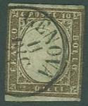 Italy Sardina SC#11J  Victor Emmanual 10c, Dark Brown, used
