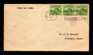SC# 728 FDC / Strip of 3 / No Cachet / Minor Creasing - N435