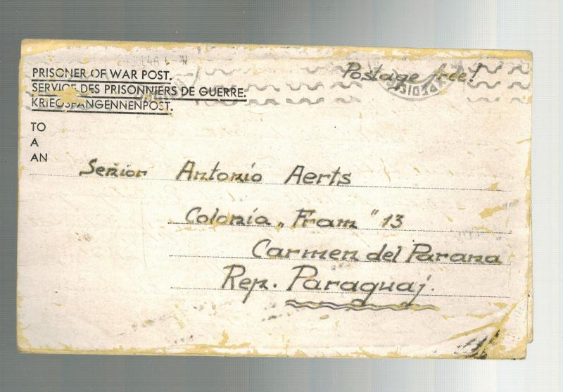 1946 Egypt MELF German POW Prisoner of War Ltr Cover to Paraguay Antonio Aerts