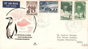 Australian Antarctic Territory Scott L1-L3, L5 Typewritten Address