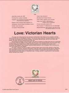 US SP1296 Love Victorian Hearts 3274 Souvenir Page FDC