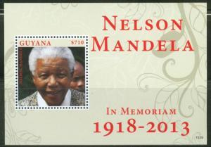 GUYANA 2013  IN MEMORIAM NELSON MANDELA SOUVENIR SHEET