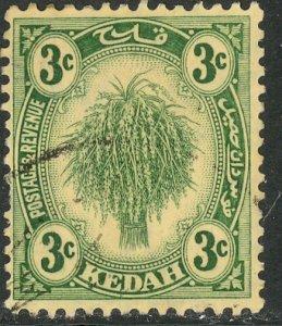 MALAYA KEDAH 1921-36 3c SHEAF OF RICE Pictorial Sc 27 VFU
