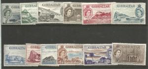 GIBRALTAR 132-143, HINGE REMNANT, INCOMPLETE SET OF 12 STAMPS, CORONATION ISS...