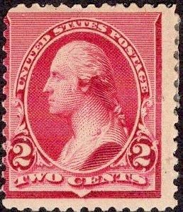US Stamp Scott #220 2c Carmine Mint Hinged SCV $20