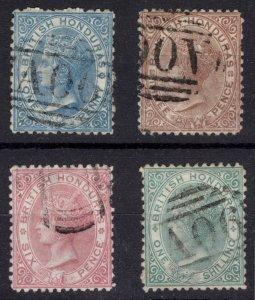 Br Honduras 1872 1d-1s PERF 12.5 Wmk CC SG 5-10 Scott 4-7 VFU Cat £188($306)