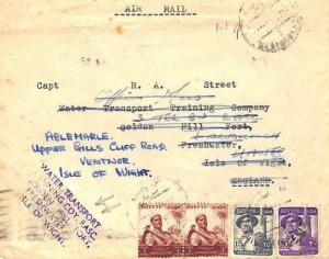 AY15 1956 Egypt Cover GB IOW *Water Transport Training Coy* GOLDEN HILL FORT
