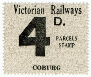 (I.B) Australia - Victoria Railways : Parcel Stamp 4d (Coburg)