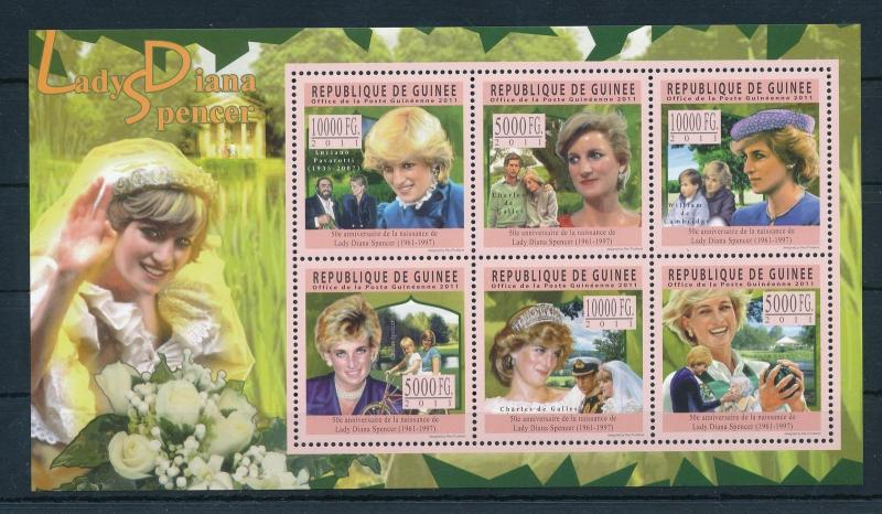 [21594] Guinea 2011 Princess Diana 50th Anniversary Pavarotti Sheet MNH
