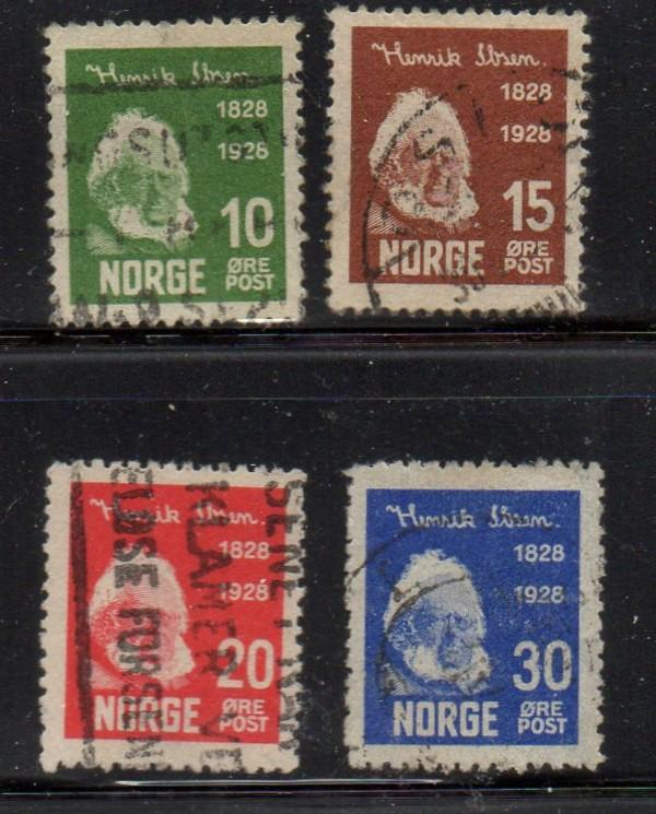 Norway Sc 132-5 1928 Henrik Ibsen stamp set used