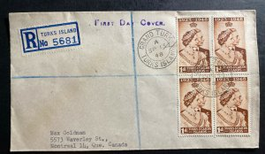 1948 Turks Islands First Day cover To Montreal Canada King George Silver Weeding