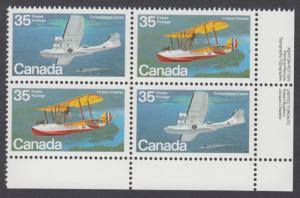 Canada - #846a Aircraft - Flying Boats Plate Block - MNH