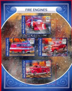 A2117 - MALDIVES, ERROR: MISPERF, MINIATURE S - 2018, Fire Trucks Engines, Dodge