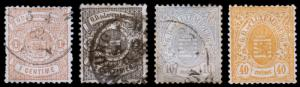 Luxembourg Scott 29-30, 33, 38 (1875-79) Used/Mint H F-VF, CV $39.50