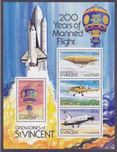 St. Vincent Grenadines 278a MNH 200 Years of Manned Flight Souvenir Sheet of 4