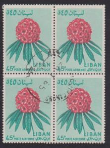 Lebanon Airmail # C395 Rhododendron Flower F-VF used Block of 4 - I Combine S/H