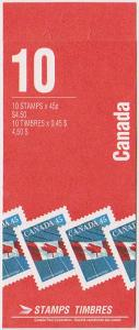 Canada USC #BK177Bb Cat. $11. Pane of Ten 45c Canadian Bank Note