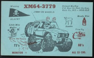 QSL QSO RADIO CARD  Jimmy on Wheels, Rich. Co., Nova Scotia,Canada (Q105)