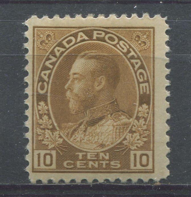 Canada #118 10c Pale Bistre Brown 1911-27 Admiral Issue No Mesh F-68 OG HR