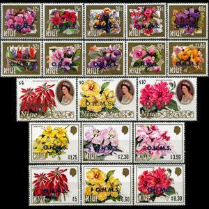 NIUE 1985 - Scott# O1-19 Flowers Set of 19 NH
