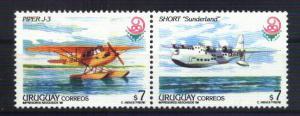 URUGUAY 1999 AVIATION,AIRPLANES Yv 1832-3 Mi 2476-7 MNH