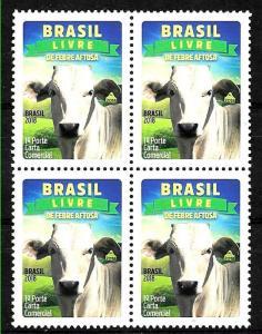 BRASIL BRAZIL 2018,FAUNA,COW ,AFTOSA FREE,BLOC OF 4,MNH