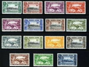SIERRA LEONE KG VI 1938-44 Complete Set ex 1½d Scarlet -SG 188 to SG 200 MINT