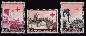 San Marino 1951 Scott 305-307 Complete (3) San Marino Red Cross  VF/NH(**)