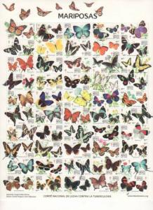 RA) 2017 MEXICO, NEW ISSUE, FULL PANE, BUTTERFLY, SPECIES OF BUTTERFLIES