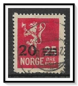 Norway #131 Lion Rampant Surcharged Used