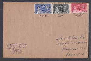 Somaliland Prot Sc 81-83 FDC. 1937 Coronation, cplt set on Selfridge & Co cover