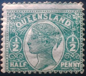 Australia - Queensland 101 Part of stamp above visible Mint OG HH - See scan