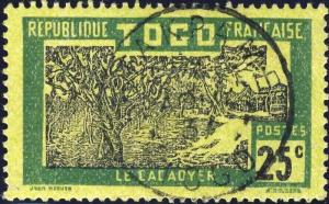 TOGO - 1937 - CACHET À DATE D'ATAKPAME SUR 25c CACACOYER (Yv.131)