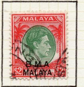 Malaya Straights Settlements 1945 Early Shade of Used $2. BMA Optd 307969