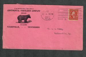 US Sc#406 Nashville Tenn Adv Cover Continental Fertilizer Company