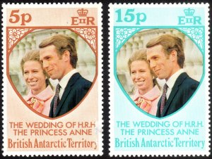 1973, British Antartica, Royal Wedding, MH set, 5p damaged, Sc 60-61