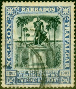 Barbados 1907 2 1/2d Black & Bright Blue SG162 Fine Used