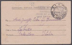SOUTH AFRICA 1942 Prisoner of War postcard to ITALY..........................724