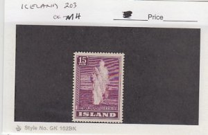 J25790  jlstamps 1938-47 iceland mh #203 geyser checked for condition