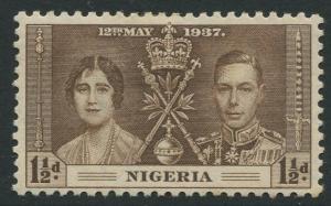 Nigeria -Scott 51 - Coronation Issue -1937 - MH - Single 1.1/2d Stamp