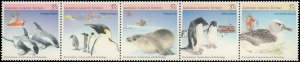 1988 Australian Antarctic Territory #L76, Complete Set, Strip of 5, Never Hinged