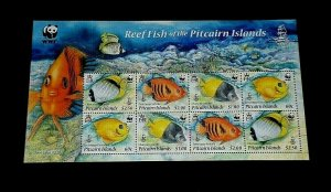 TOPICAL, 2010, MARINE LIFE, PITCAIRN ISLANDS, WWF, MNH, SHEET/8, LOT #225, LQQK