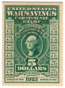 (I.B-CK) US Revenue : War Savings Certificate $5 (1916)