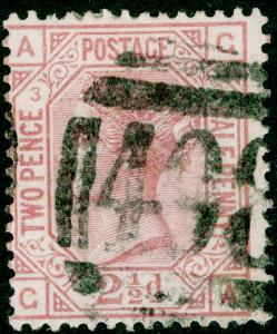 SG139, 2½d rosy mauve PLATE 3, USED. Cat £130. WMK ANCHOR. GA