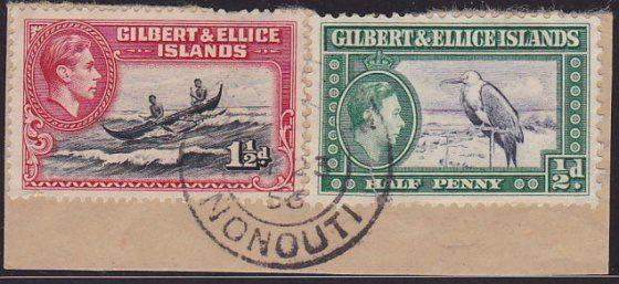GILBERT & ELLICE IS GVI on 1956 piece POST OFFICE / NONOUTI cds.............2696