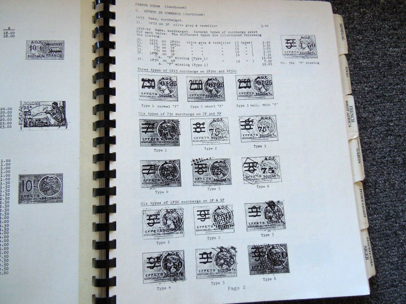 Abrams & Janton Catalog of French Colonies Revenue Stamps 5 volumes 1987-90 RARE