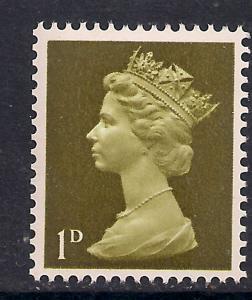 GB 1968 QE2 1d Yellow Olive Umm Machin SG 724 ( G759 )