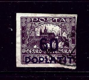 Czechoslovakia J25 Used 1926 overprint close cut on one side