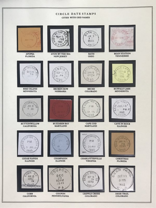 US Circular Date Stamp Collection (Odd/Boys/Girls/Double Town/Port/City/State)