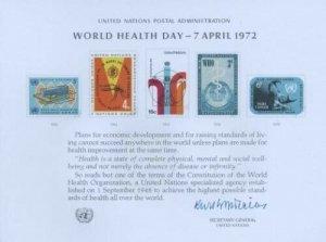 UN #1 SOUVENIR CARD - WORLD HEALTH ORGANIZATION - Mint